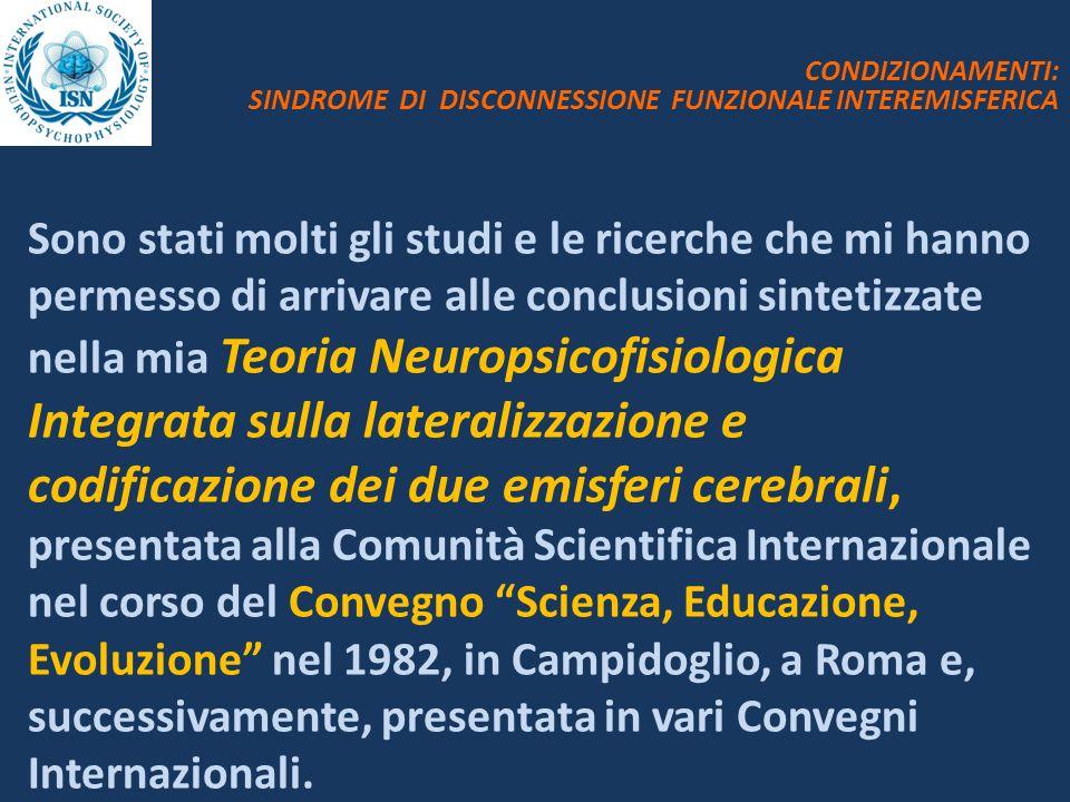 CONDIZIONAMENTI: SINDROME DI DISCONNESSIONE FUNZIONALE INTEREMISFERICA