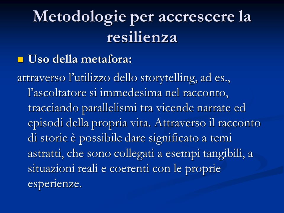 Metodologie per accrescere la resilienza