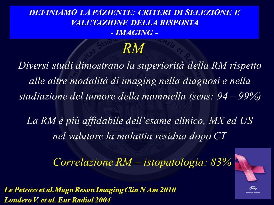 Correlazione RM – istopatologia: 83%