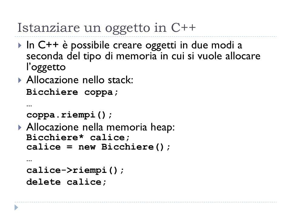 Istanziare un oggetto in C++