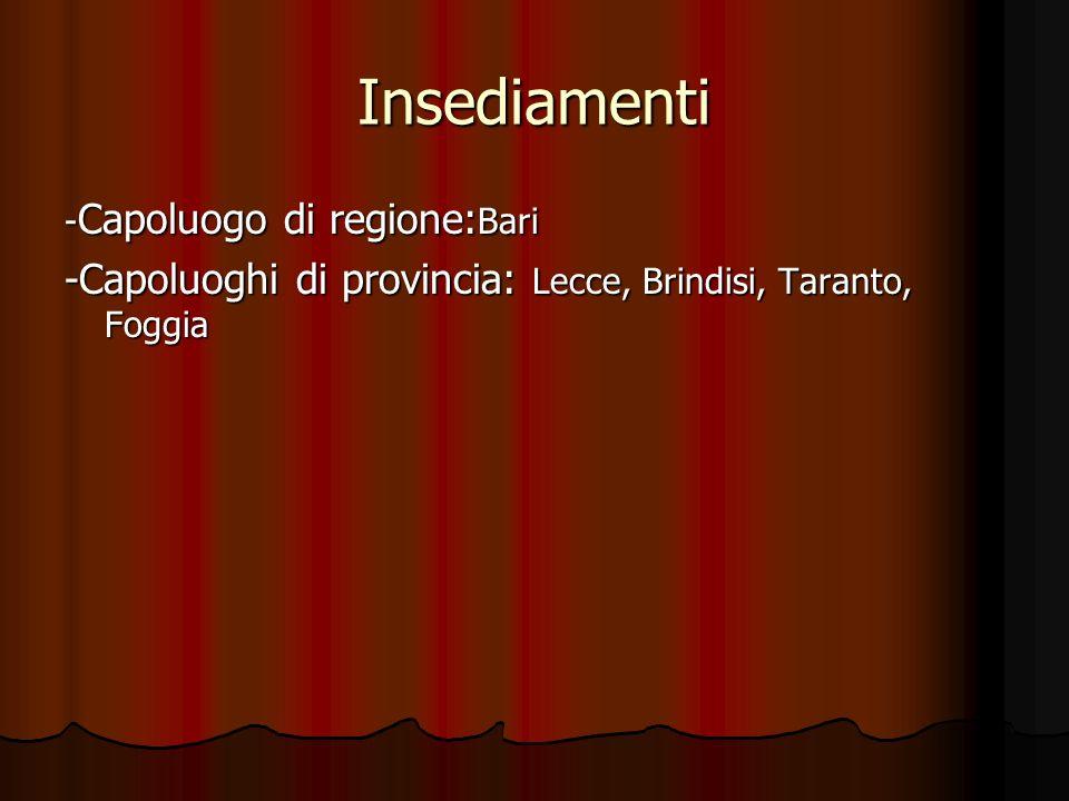 Insediamenti -Capoluogo di regione:Bari -Capoluoghi di provincia: Lecce, Brindisi, Taranto, Foggia