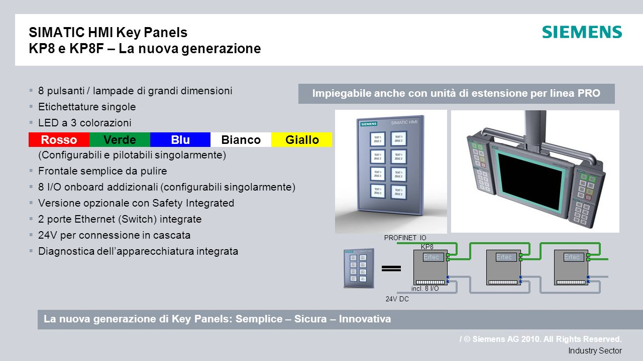 SIMATIC HMI Key Panels KP8 e KP8F – La nuova generazione