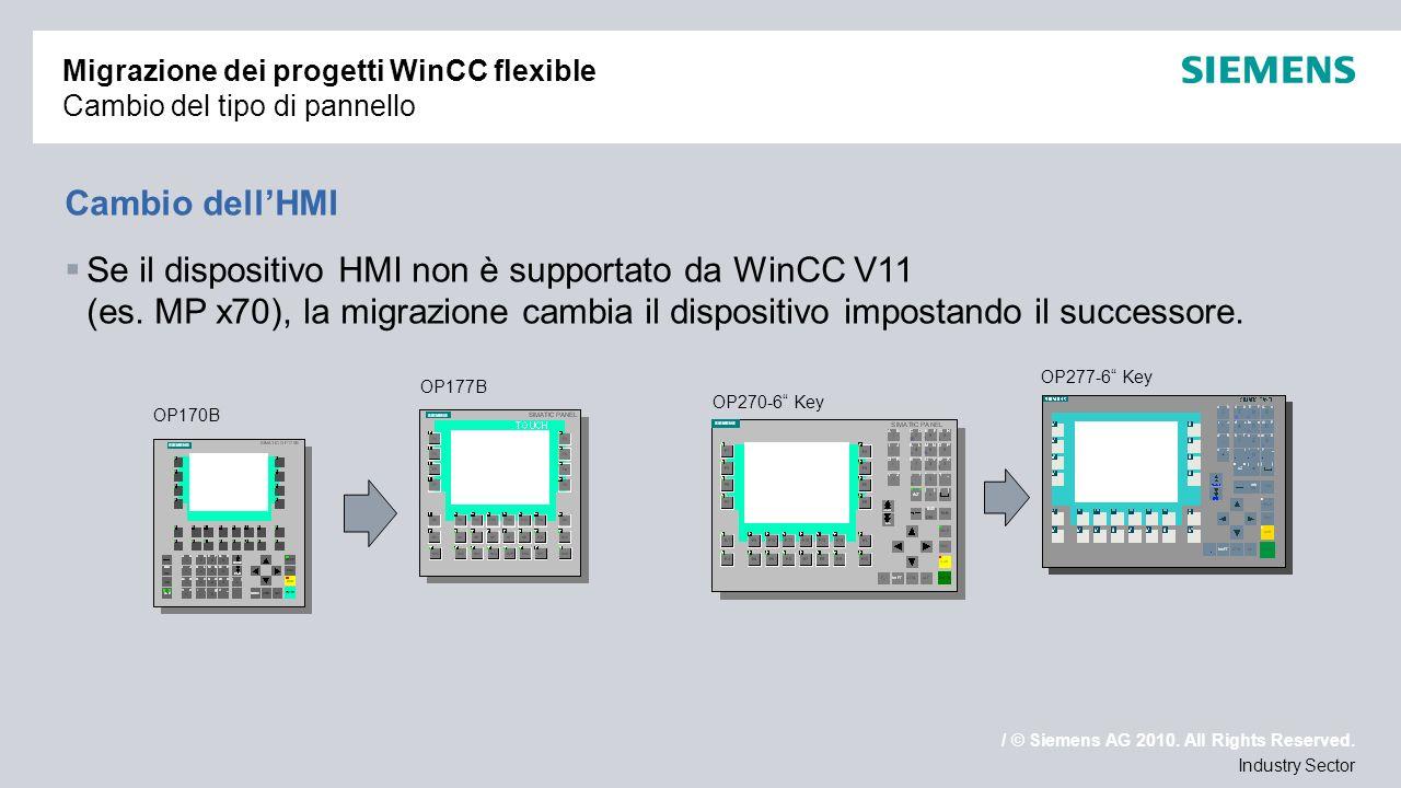 Migrazione dei progetti WinCC flexible Cambio del tipo di pannello