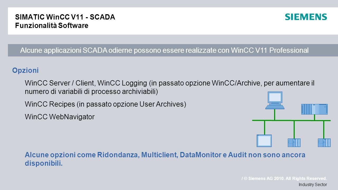 SIMATIC WinCC V11 - SCADA Funzionalità Software