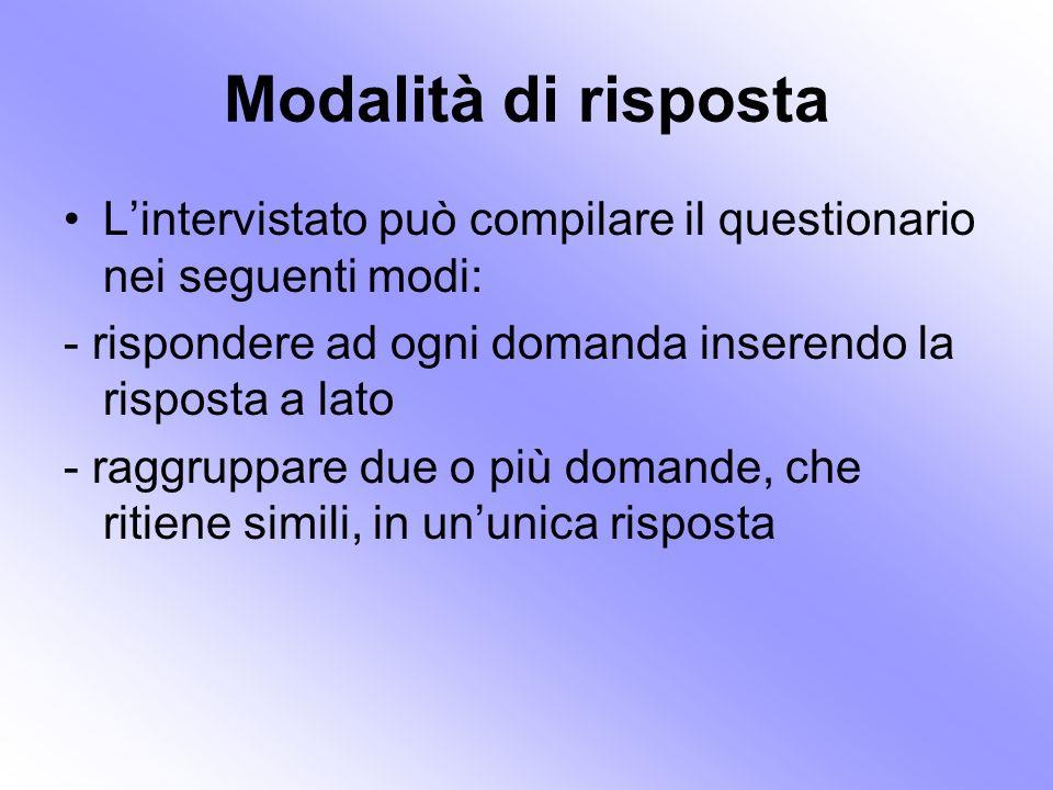 Modalità di risposta L'intervistato può compilare il questionario nei seguenti modi: - rispondere ad ogni domanda inserendo la risposta a lato.