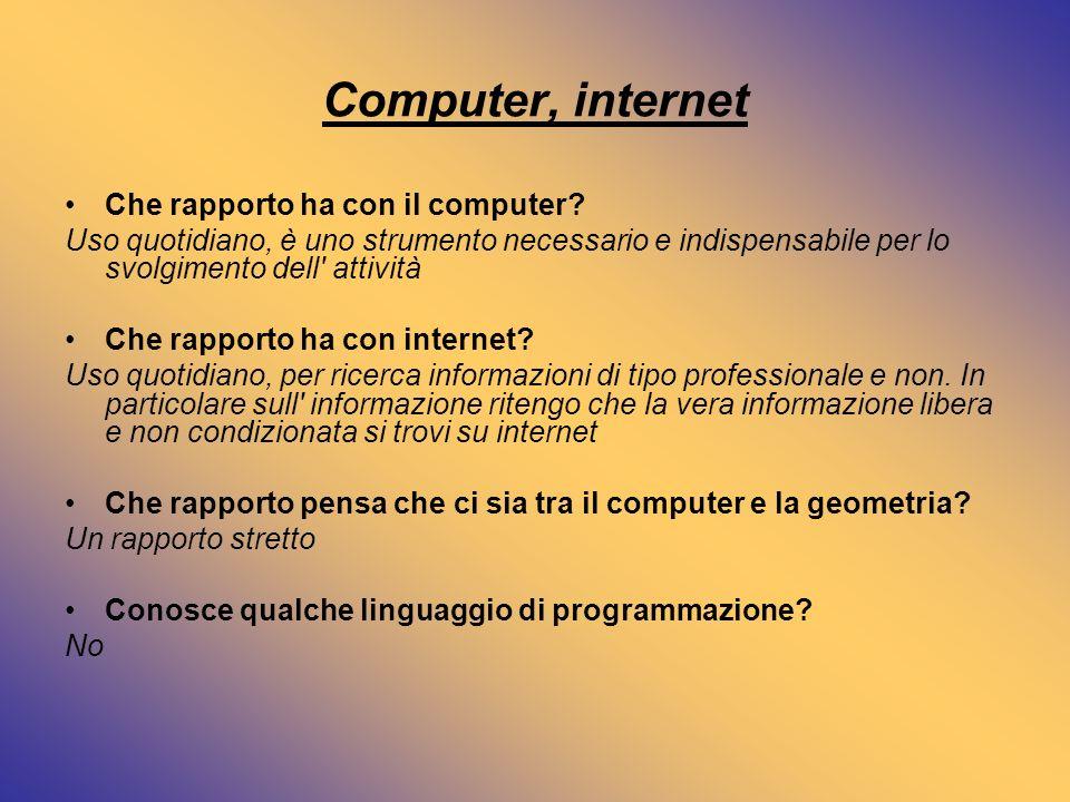 Computer, internet Che rapporto ha con il computer