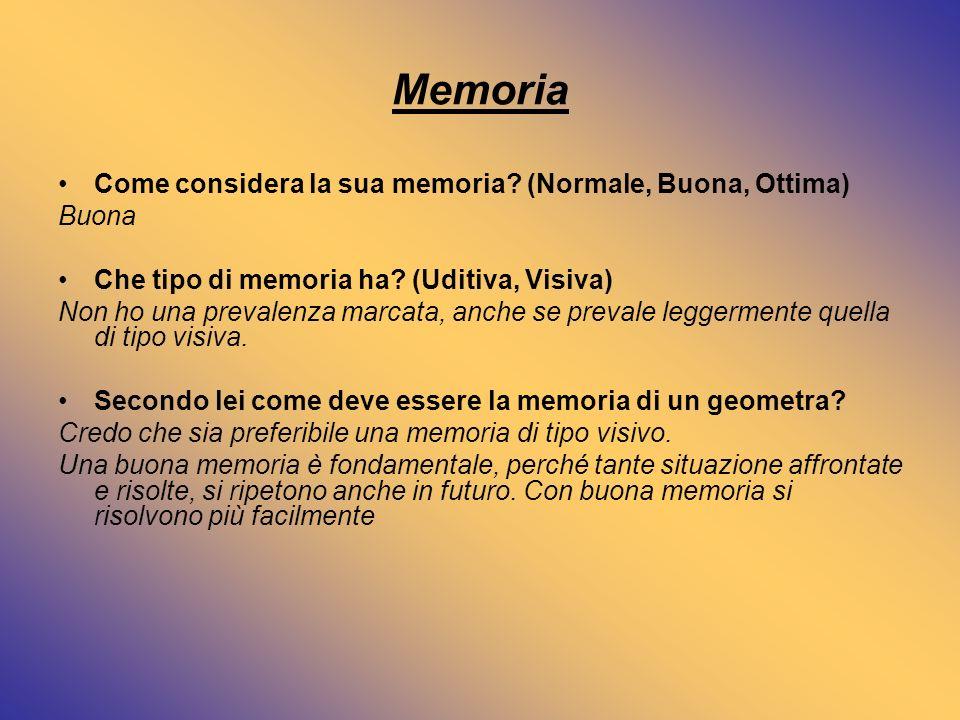 Memoria Come considera la sua memoria (Normale, Buona, Ottima) Buona