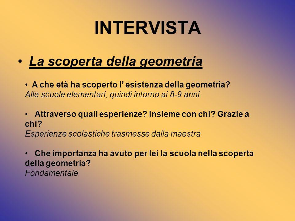 INTERVISTA La scoperta della geometria
