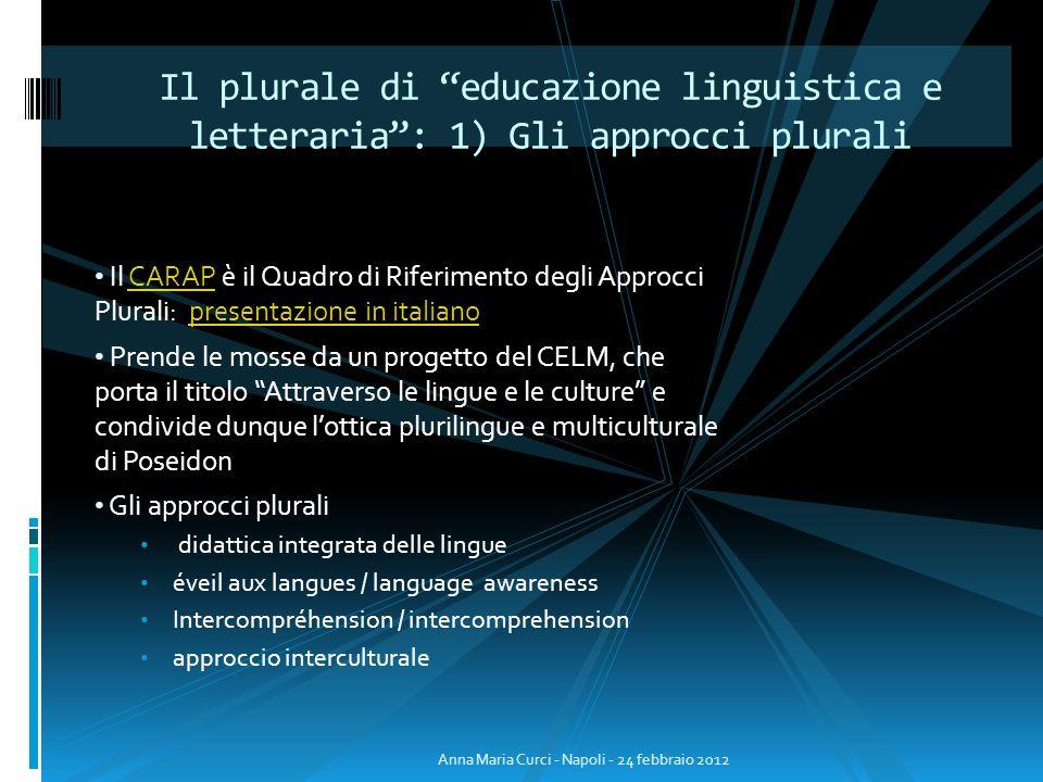 Il plurale di educazione linguistica e letteraria : 1) Gli approcci plurali