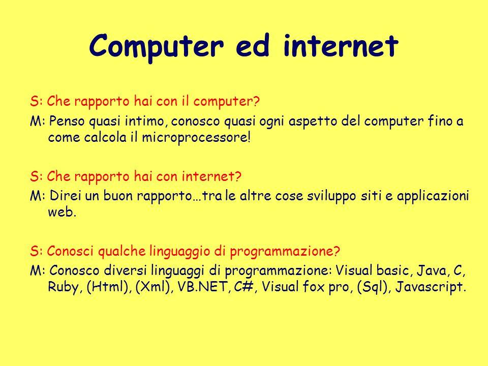 Computer ed internet S: Che rapporto hai con il computer