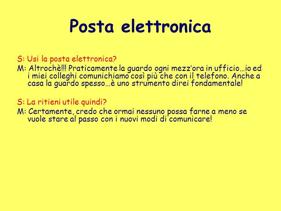 Posta elettronica S: Usi la posta elettronica