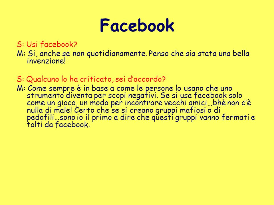 Facebook S: Usi facebook