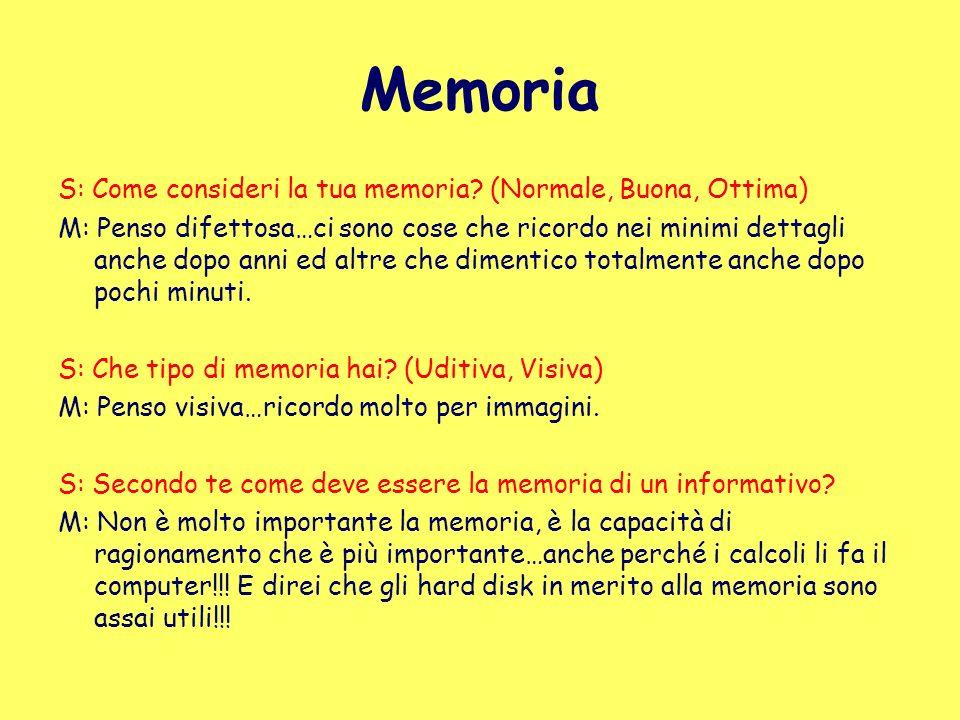 Memoria S: Come consideri la tua memoria (Normale, Buona, Ottima)