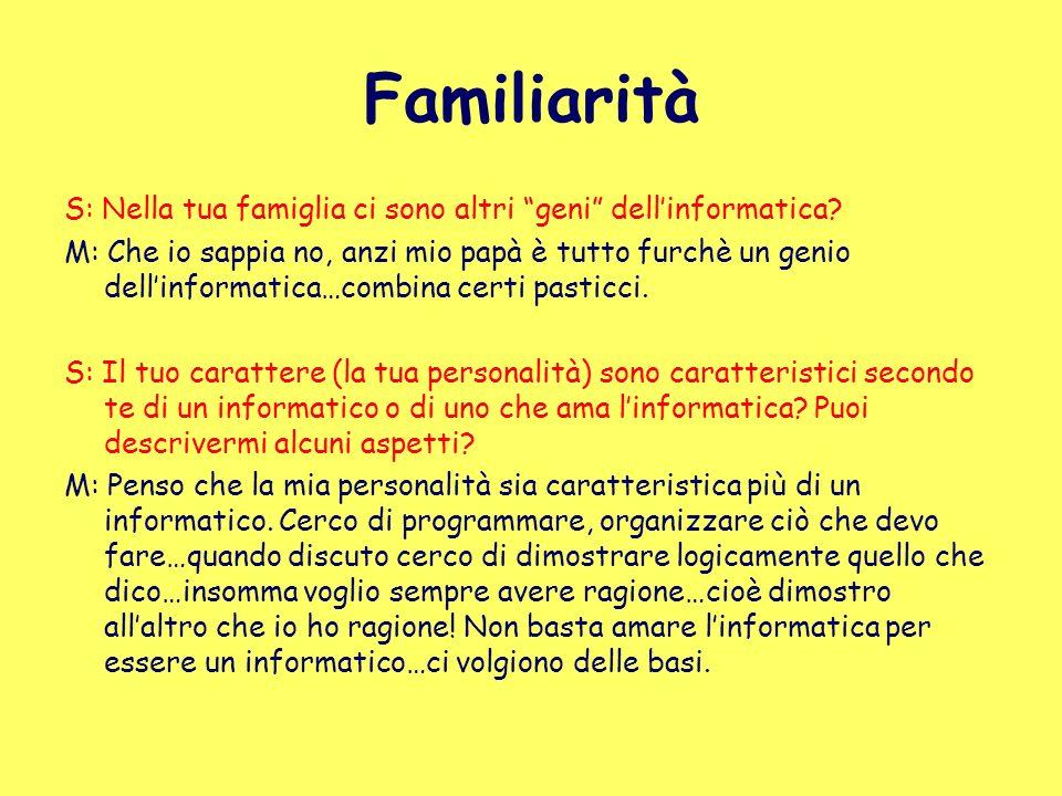 Familiarità S: Nella tua famiglia ci sono altri geni dell'informatica