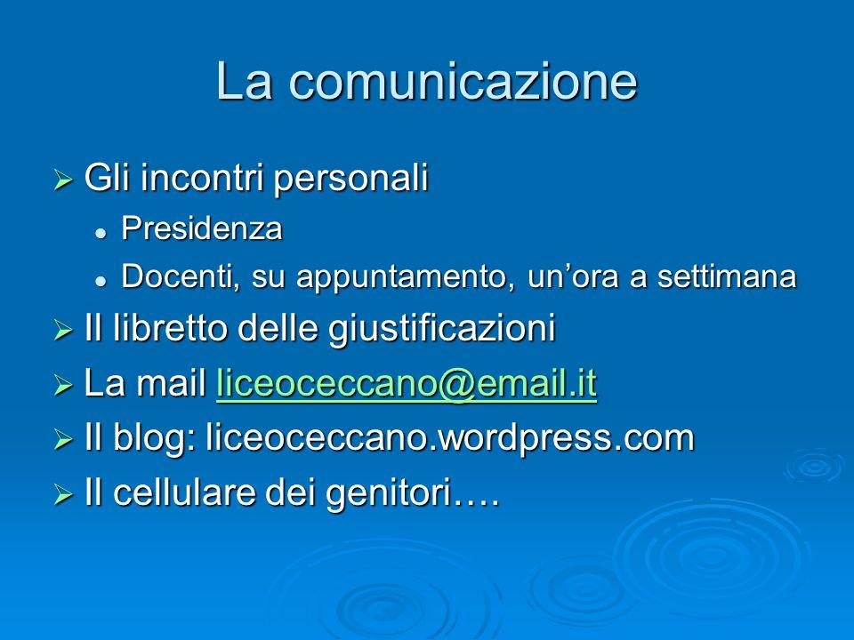La comunicazione Gli incontri personali
