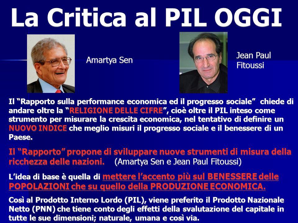 La Critica al PIL OGGI Jean Paul Fitoussi Amartya Sen