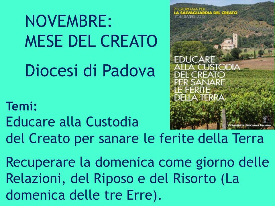 NOVEMBRE: MESE DEL CREATO Diocesi di Padova Educare alla Custodia