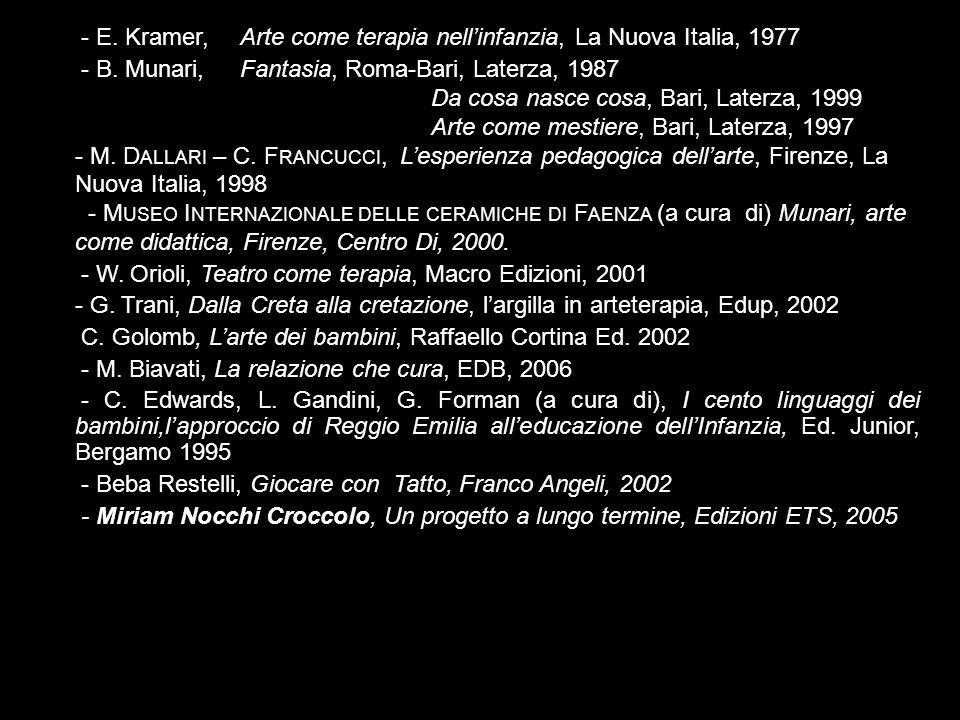 - E. Kramer, Arte come terapia nell'infanzia, La Nuova Italia, 1977