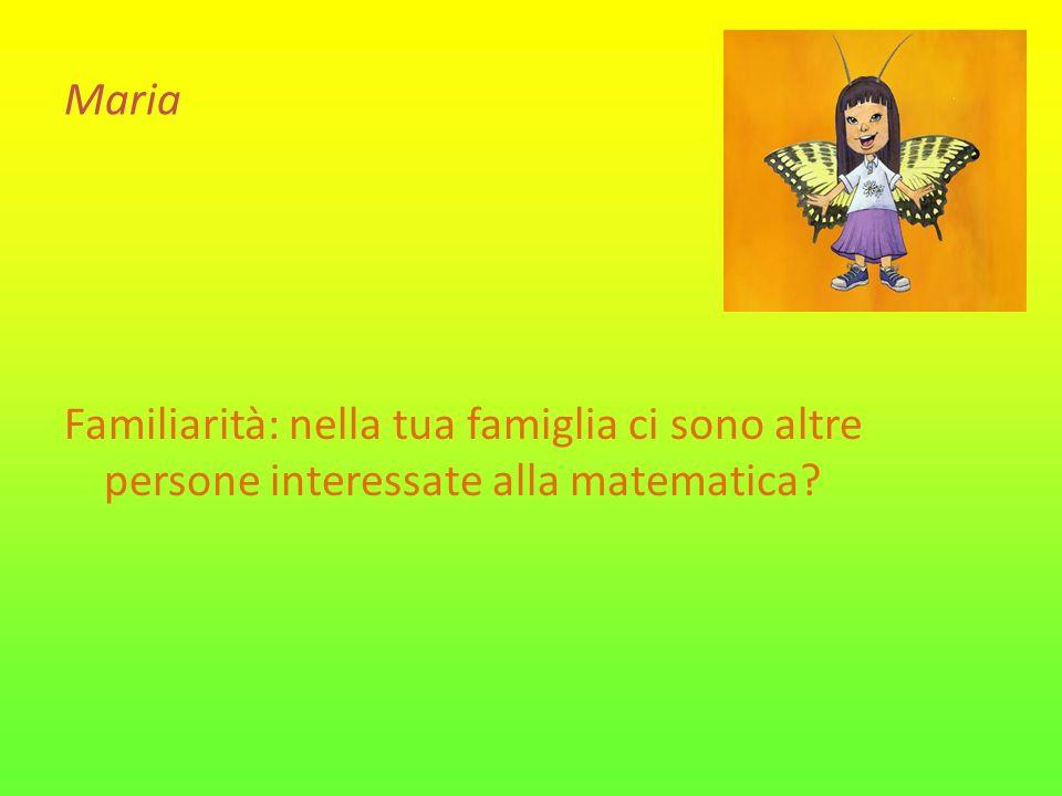 Maria Familiarità: nella tua famiglia ci sono altre persone interessate alla matematica