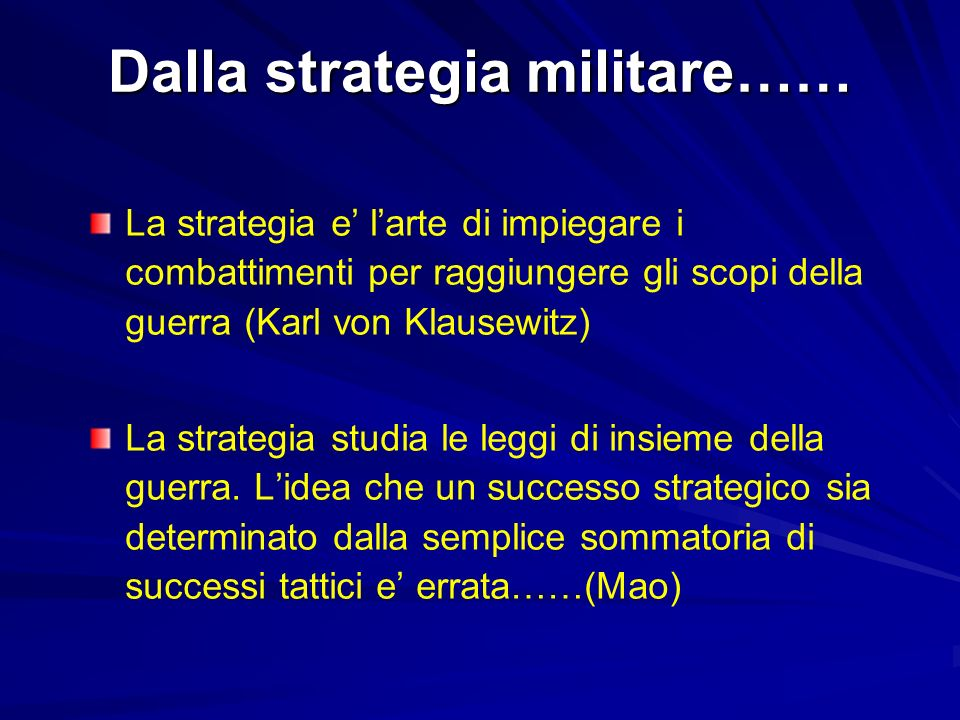 Dalla strategia militare……
