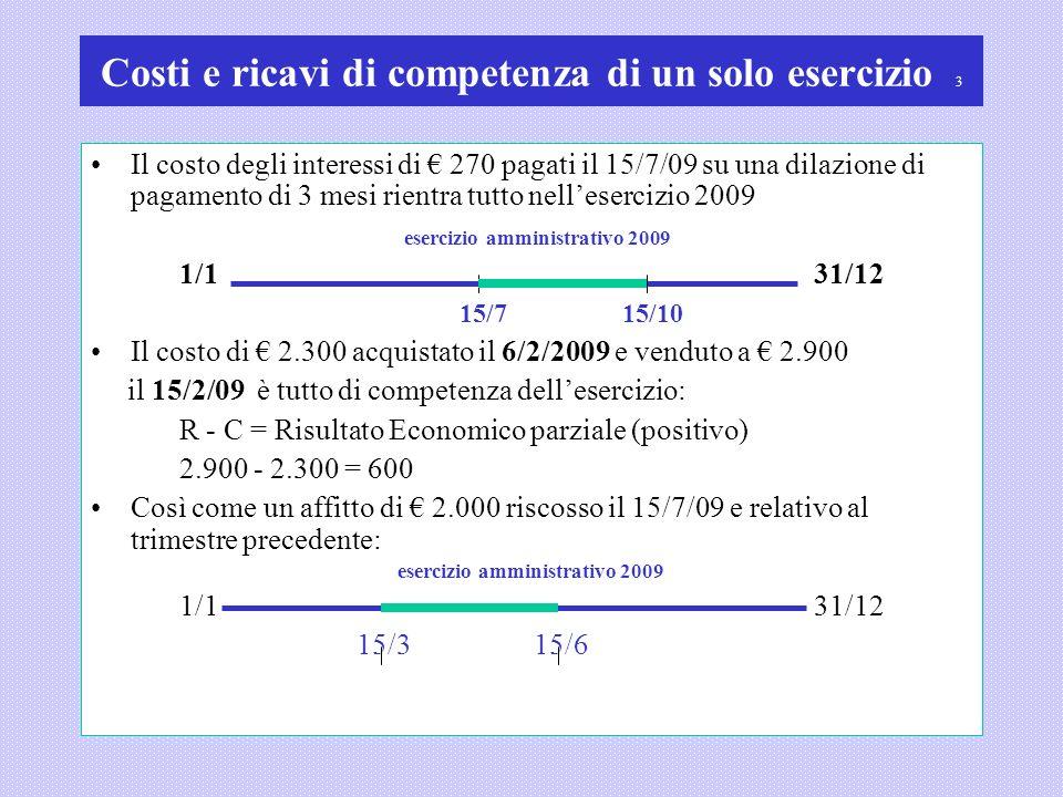 Costi e ricavi di competenza di un solo esercizio 3