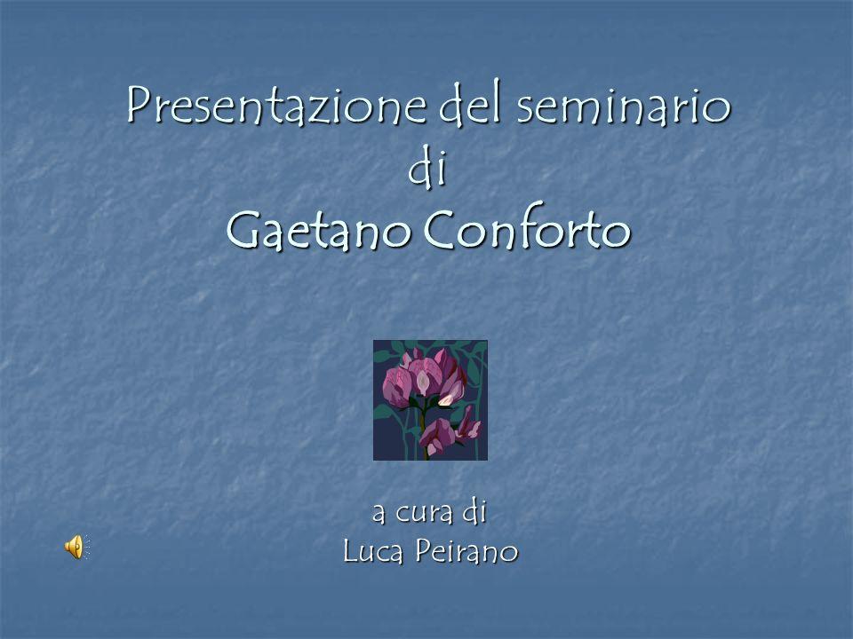 Presentazione del seminario di Gaetano Conforto