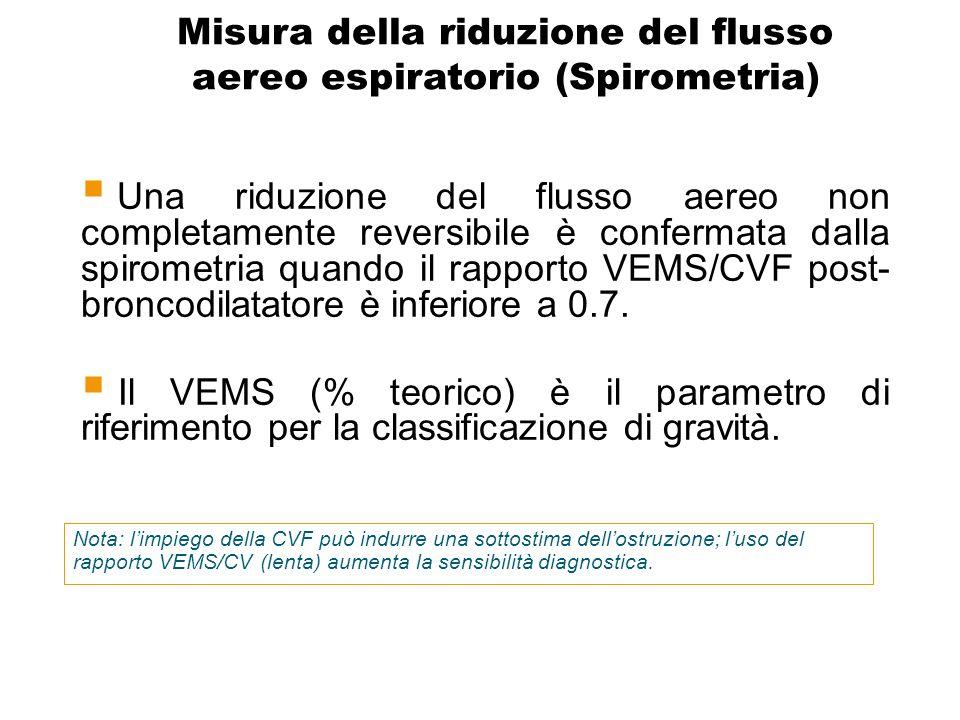 Misura della riduzione del flusso aereo espiratorio (Spirometria)