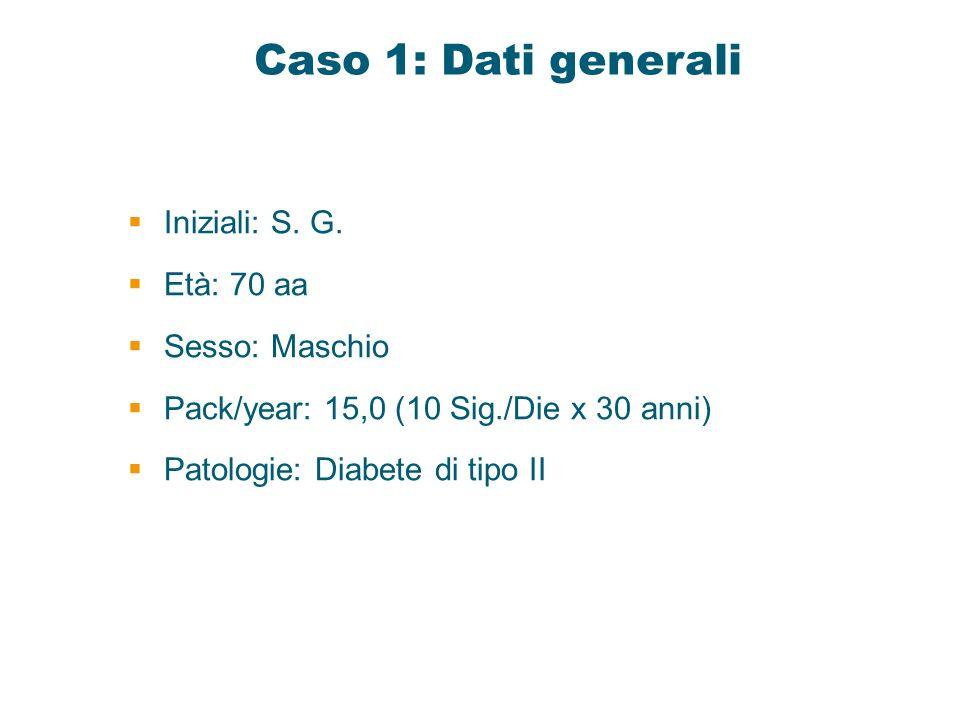 Caso 1: Dati generali Iniziali: S. G. Età: 70 aa Sesso: Maschio