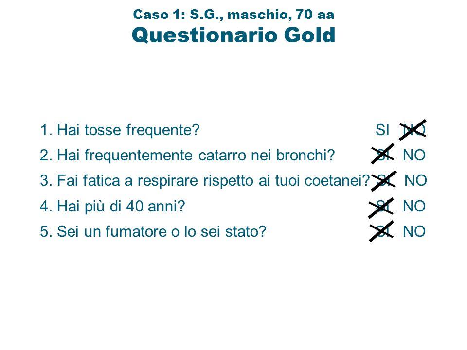 Caso 1: S.G., maschio, 70 aa Questionario Gold