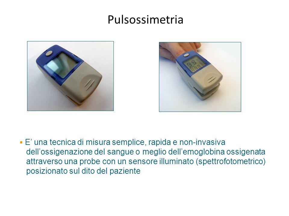 Pulsossimetria E' una tecnica di misura semplice, rapida e non-invasiva. dell'ossigenazione del sangue o meglio dell'emoglobina ossigenata.
