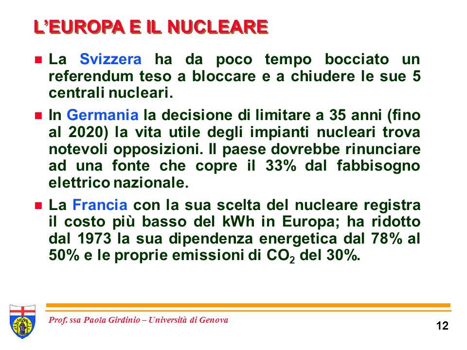 L'EUROPA E IL NUCLEARE La Svizzera ha da poco tempo bocciato un referendum teso a bloccare e a chiudere le sue 5 centrali nucleari.
