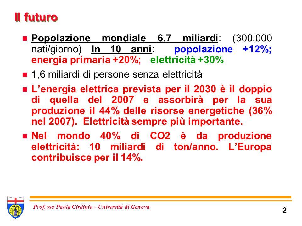 Il futuro Popolazione mondiale 6,7 miliardi: (300.000 nati/giorno) In 10 anni: popolazione +12%; energia primaria +20%; elettricità +30%