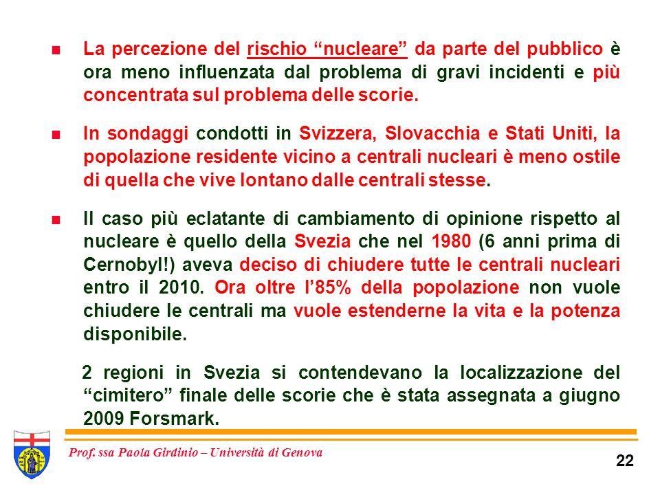 La percezione del rischio nucleare da parte del pubblico è ora meno influenzata dal problema di gravi incidenti e più concentrata sul problema delle scorie.