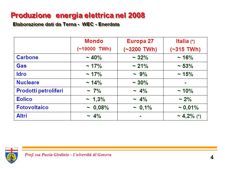 Produzione energia elettrica nel 2008 Elaborazione dati da Terna - WEC - Enerdata