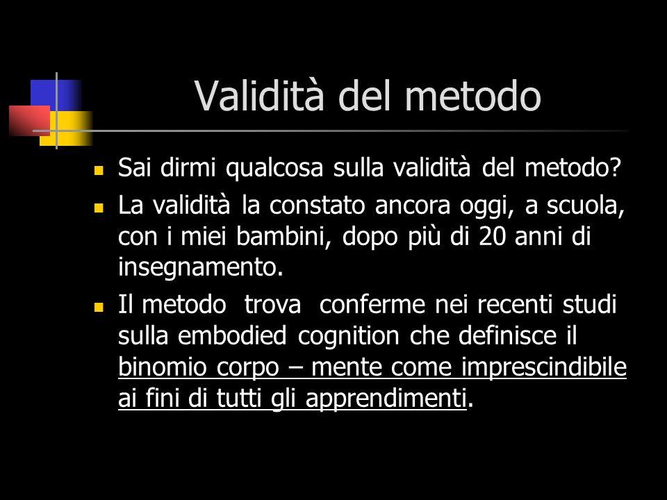 Validità del metodo Sai dirmi qualcosa sulla validità del metodo
