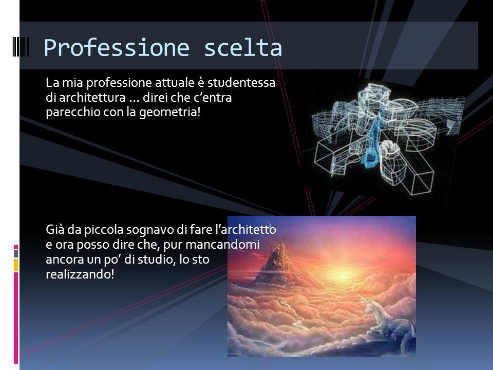 Professione scelta La mia professione attuale è studentessa di architettura … direi che c'entra parecchio con la geometria!