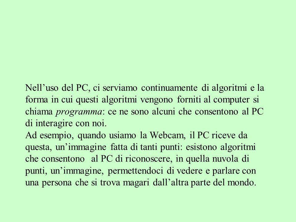 Nell'uso del PC, ci serviamo continuamente di algoritmi e la forma in cui questi algoritmi vengono forniti al computer si chiama programma: ce ne sono alcuni che consentono al PC di interagire con noi.