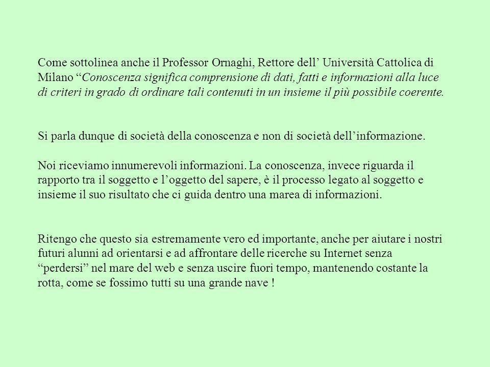 Come sottolinea anche il Professor Ornaghi, Rettore dell' Università Cattolica di Milano Conoscenza significa comprensione di dati, fatti e informazioni alla luce di criteri in grado di ordinare tali contenuti in un insieme il più possibile coerente.