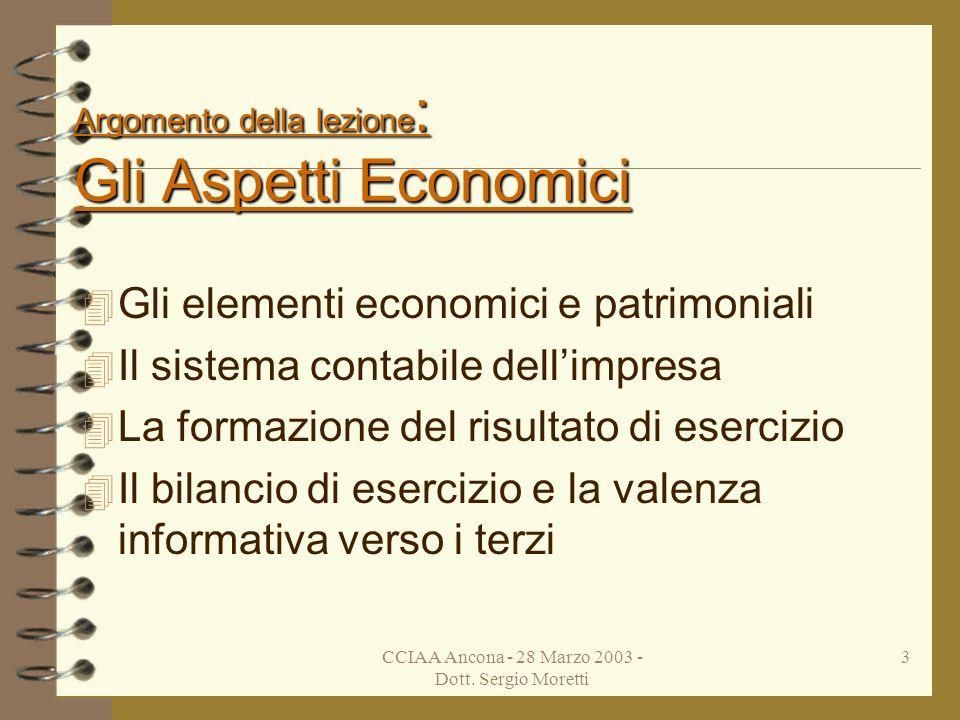 Argomento della lezione: Gli Aspetti Economici