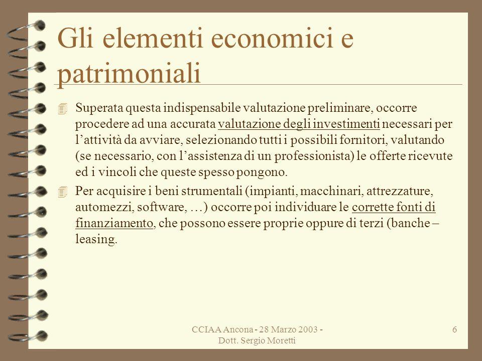 Gli elementi economici e patrimoniali