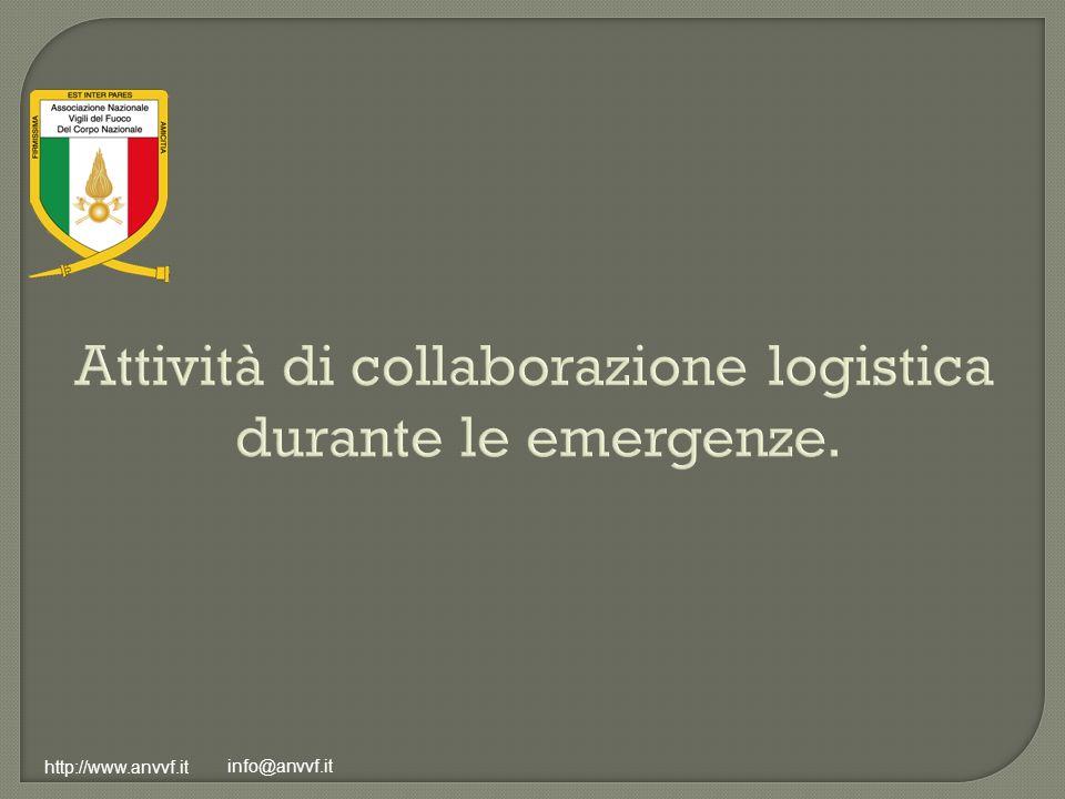 Attività di collaborazione logistica durante le emergenze.