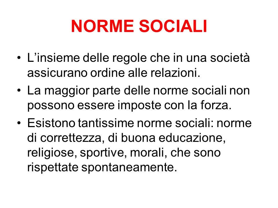 NORME SOCIALIL'insieme delle regole che in una società assicurano ordine alle relazioni.
