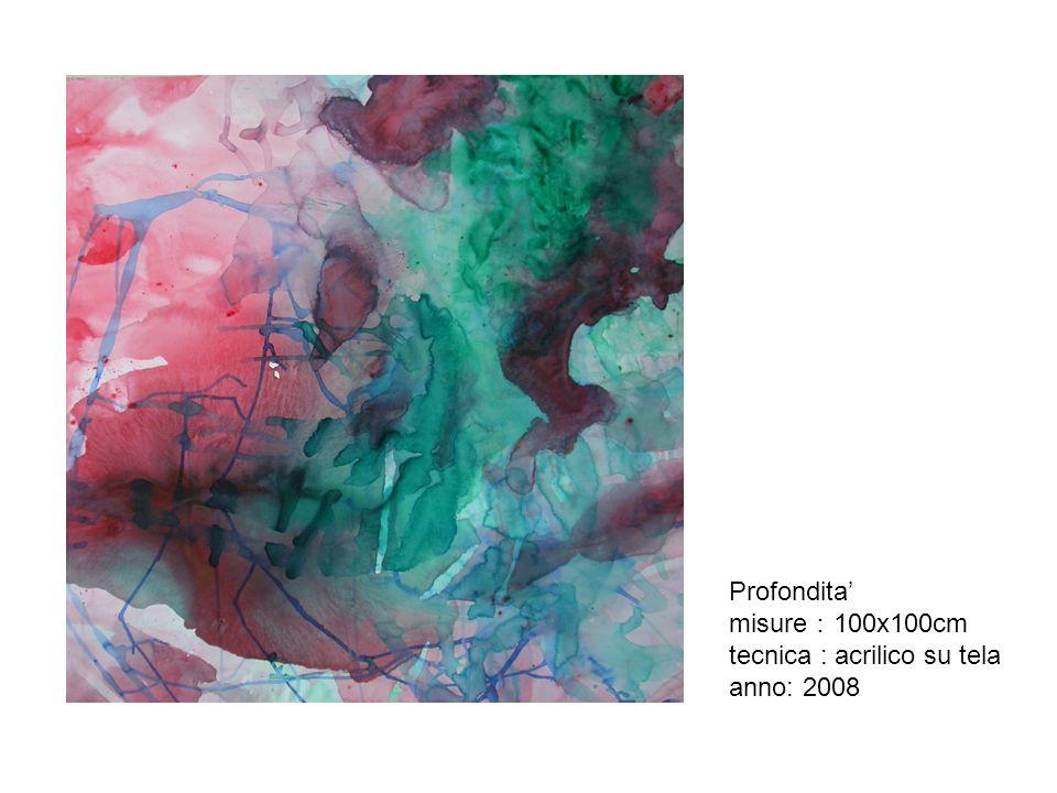 Profondita' misure:100x100cm tecnica : acrilico su tela anno: 2008