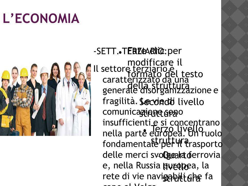 L'ECONOMIA -SETT. TERZIARIO: