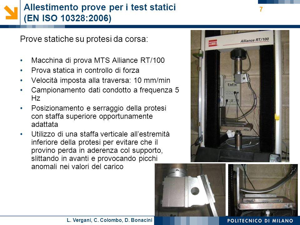 Allestimento prove per i test statici (EN ISO 10328:2006)