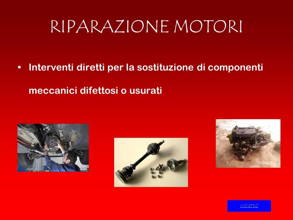 RIPARAZIONE MOTORI Interventi diretti per la sostituzione di componenti meccanici difettosi o usurati.