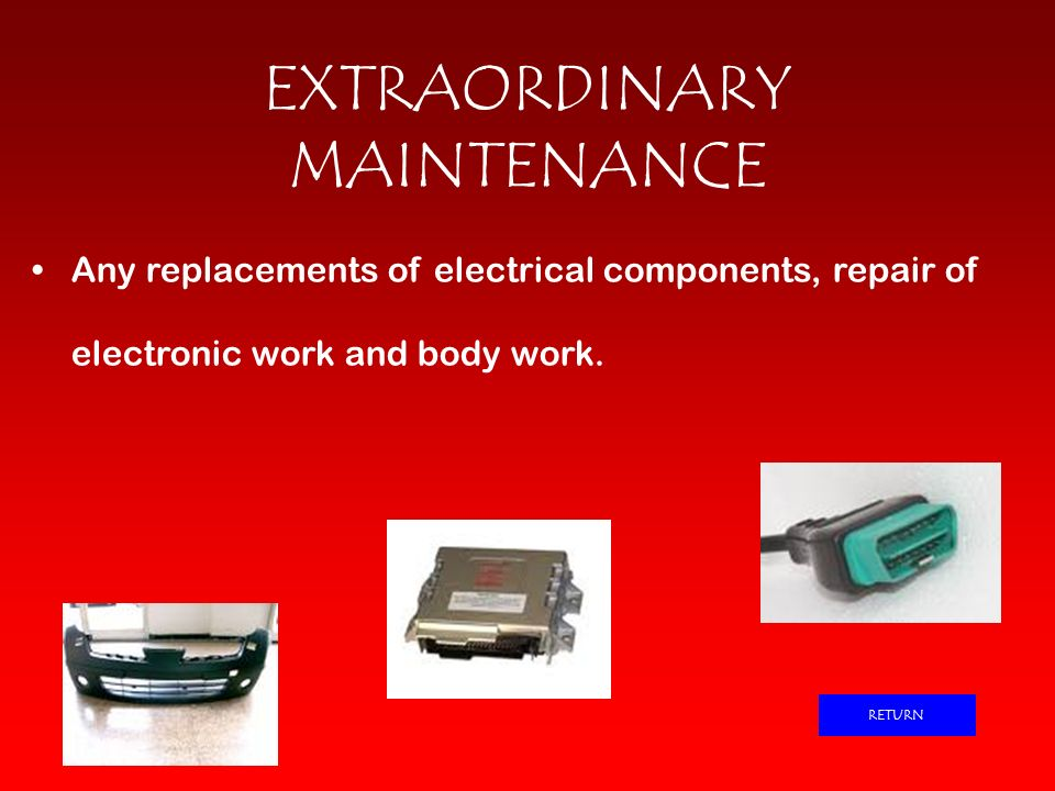 EXTRAORDINARY MAINTENANCE