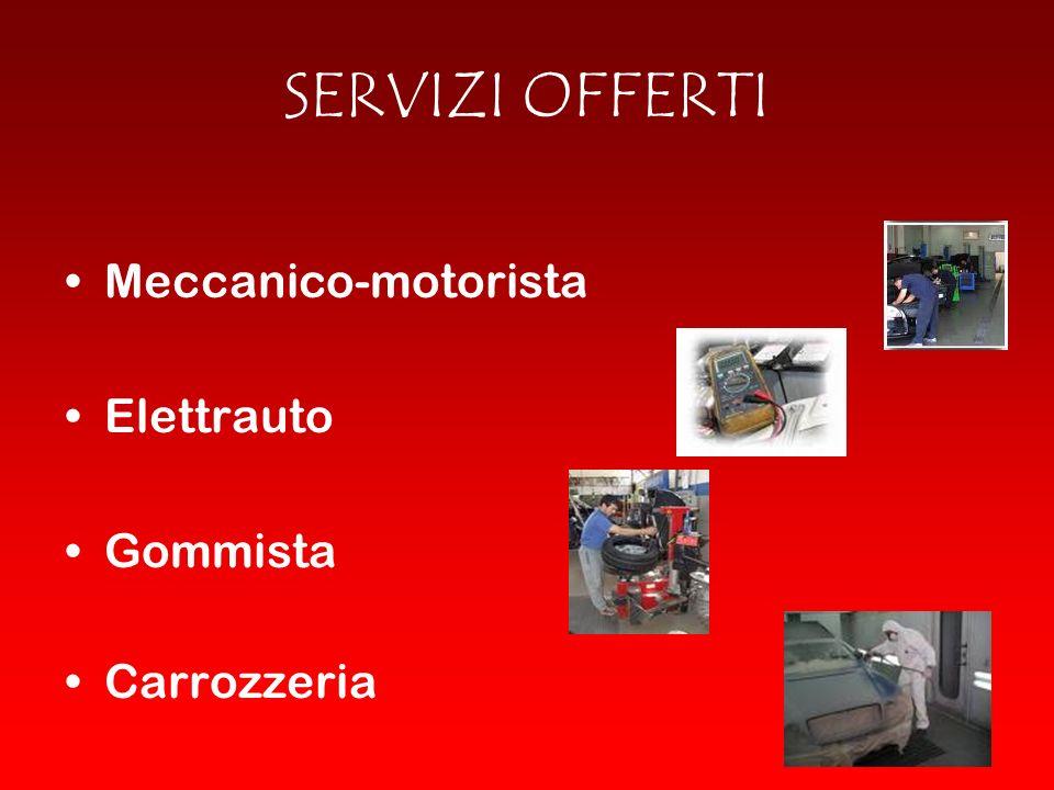 SERVIZI OFFERTI Meccanico-motorista Elettrauto Gommista Carrozzeria