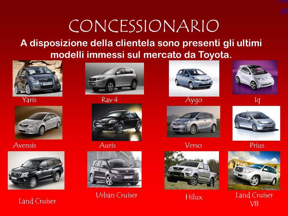 Home page. CONCESSIONARIO. A disposizione della clientela sono presenti gli ultimi modelli immessi sul mercato da Toyota.