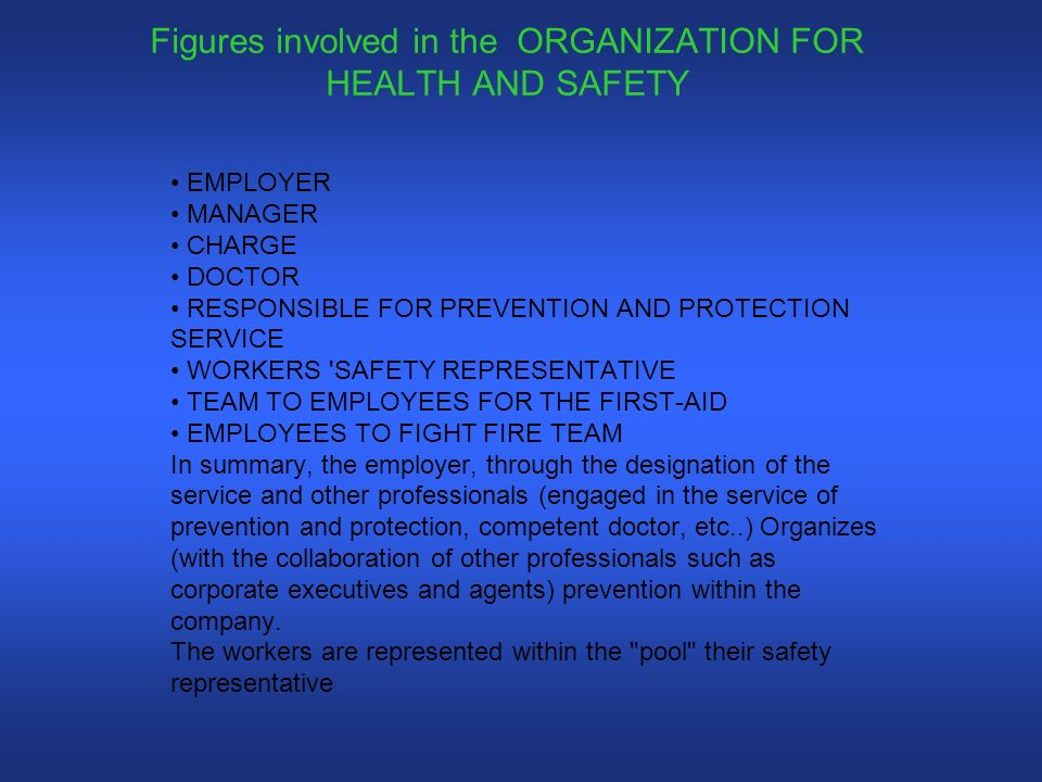 Figures involved in the ORGANIZATION FOR HEALTH AND SAFETY